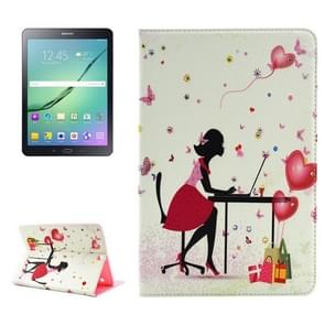 Relaxing Girl Pattern Diamond Encrusted Horizontal Flip Leather Case with Holder for Samsung Galaxy Tab S2 9.7 / T815 / T810