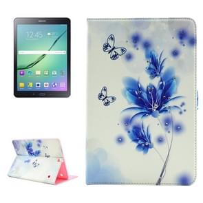 Flower Pattern Diamond Encrusted Horizontal Flip Leather Case with Holder for Samsung Galaxy Tab S2 9.7 / T815 / T810
