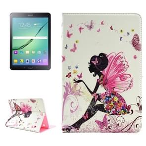 Colorful Butterfly Fairy Pattern Diamond Encrusted Horizontal Flip Leather Case with Holder for Samsung Galaxy Tab S2 9.7 / T815 / T810