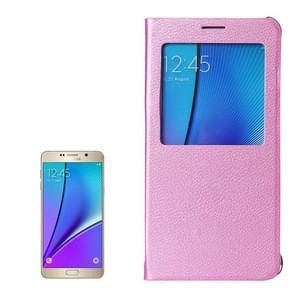 Litchi Texture Horizontal Flip Leather Case with Sleep / Wake-up Function for Samsung Galaxy Note 5 / N920(Pink)