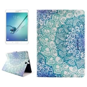 Flower Drawing Pattern Horizontal Flip PC + PU Leather Case with Holder & Card Slots for Samsung Galaxy Tab S2 8.0 / T715