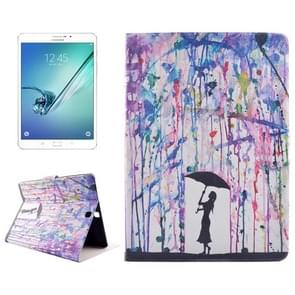 Drawing Rain Pattern Horizontal Flip PC + PU Leather Case with Holder & Card Slots for Samsung Galaxy Tab S2 8.0 / T715