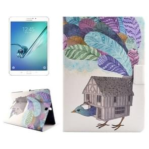 Creative Bird House Drawing Pattern Horizontal Flip PC + PU Leather Case with Holder & Card Slots for Samsung Galaxy Tab S2 8.0 / T715
