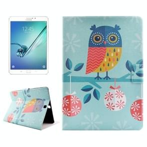 Owl Drawing Pattern Horizontal Flip PC + PU Leather Case with Holder & Card Slots for Samsung Galaxy Tab S2 8.0 / T715