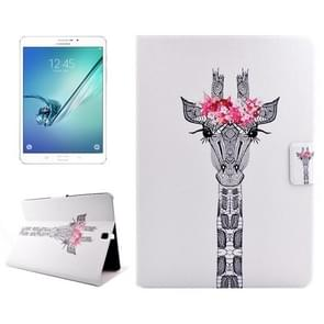 Giraffe Head Drawing Pattern Horizontal Flip PC + PU Leather Case with Holder & Card Slots for Samsung Galaxy Tab S2 8.0 / T715