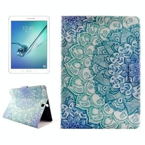 Flower Drawing Pattern Horizontal Flip PC + PU Leather Case with Holder & Card Slots for Samsung Galaxy Tab S2 9.7 / T815