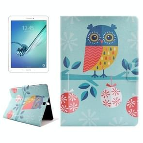Owl Drawing Pattern Horizontal Flip PC + PU Leather Case with Holder & Card Slots for Samsung Galaxy Tab S2 9.7 / T815