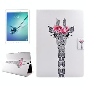 Giraffe Head Drawing Pattern Horizontal Flip PC + PU Leather Case with Holder & Card Slots for Samsung Galaxy Tab S2 9.7 / T815