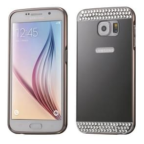 For Samsung Galaxy S6 / G920 Diamond Encrusted Push-pull Style Metal Plating Bumper Frame + Acrylic Back Cover Combination Case (Black)