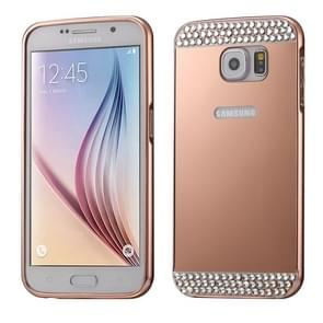 For Samsung Galaxy S6 / G920 Diamond Encrusted Push-pull Style Metal Plating Bumper Frame + Acrylic Back Cover Combination Case (Rose Gold)