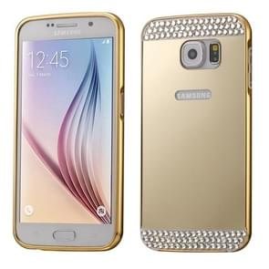 For Samsung Galaxy S6 / G920 Diamond Encrusted Push-pull Style Metal Plating Bumper Frame + Acrylic Back Cover Combination Case (Gold)