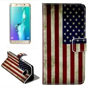 For Samsung Galaxy S6 Edge + / G928 Retro USA Flag Pattern Horizontal Flip Leather Case with Card Slots & Wallet & Holder