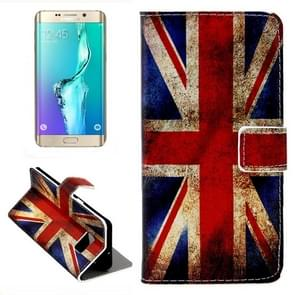 For Samsung Galaxy S6 Edge + / G928 Retro UK Flag Pattern Button Horizontal Flip Leather Case with Card Slots & Wallet & Holder