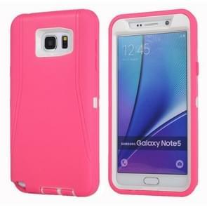 For Samsung Galaxy Note 5 / N920 Hybrid TPU Bumper PC Combination Case(Magenta+White)