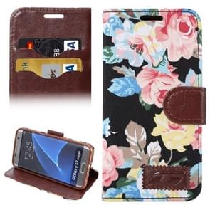 For Samsung Galaxy S7 Edge/G935 Flower Pattern Cloth Surface Horizontal Flip Leather Case with Holder & Card Slots (Black)