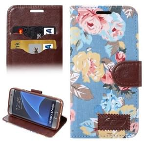 For Samsung Galaxy S7 Edge/G935 Flower Pattern Cloth Surface Horizontal Flip Leather Case with Holder & Card Slots (Blue)