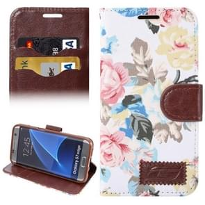 For Samsung Galaxy S7 Edge/G935 Flower Pattern Cloth Surface Horizontal Flip Leather Case with Holder & Card Slots (White)