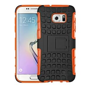 For Samsung Galaxy S7 Edge / G935 2 in 1 Double Colored Tire Texture Combination Case with Separable Black Holder (Orange)