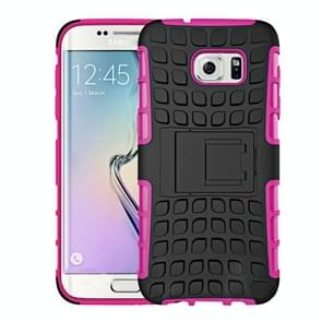 For Samsung Galaxy S7 Edge / G935 2 in 1 Double Colored Tire Texture Combination Case with Separable Black Holder (Magenta)