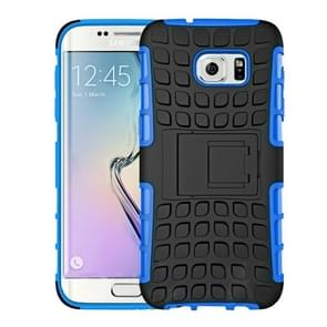 For Samsung Galaxy S7 / G930 2 in 1 Double Colored Tire Texture Combination Case with Separable Black Holder (Dark Blue)