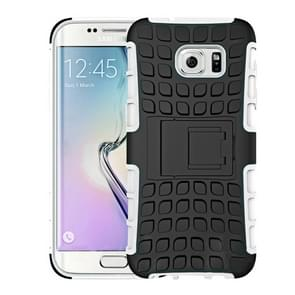 For Samsung Galaxy S7 / G930 2 in 1 Double Colored Tire Texture Combination Case with Separable Black Holder (White)