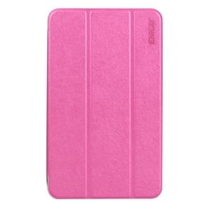 ENKAY Silk Texture PU Horizontal Flip PU Leather Case with Translucent Frosted Plastic Back Shell & Three-folding Holder for Samsung Galaxy Tab E 8.0 / T377 / T375(Magenta)