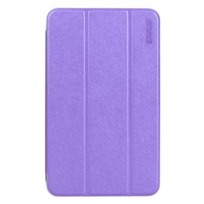 ENKAY Silk Texture PU Horizontal Flip PU Leather Case with Translucent Frosted Plastic Back Shell & Three-folding Holder for Samsung Galaxy Tab E 8.0 / T377 / T375(Purple)