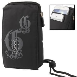 3-layer Zipper Carry Bag with Carabiner Hook for iPhone 6 Plus, Samsung Galaxy Note 5 / S7 / All 5.5 inch Device