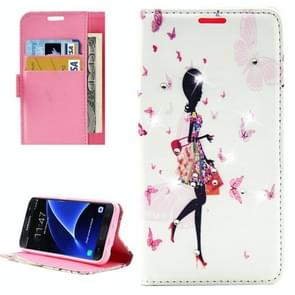 For Samsung Galaxy S7 / G930 Fashion Lady Shopping Pattern Diamond Encrusted Horizontal Flip Leather Case with Holder & Card Slots & Wallets