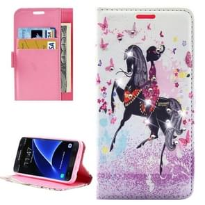 For Samsung Galaxy S7 / G930 Fashion Lady RidingPattern Diamond Encrusted Horizontal Flip Leather Case with Holder & Card Slots & Wallets