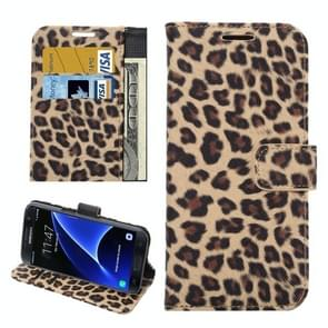 For Samsung Galaxy S7 / G930 Leopard Texture Horizontal Flip Leather Case with Holder & Card Slots & Wallet (Yellow)