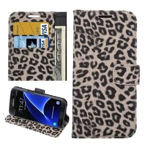 For Samsung Galaxy S7 / G930 Leopard Texture Horizontal Flip Leather Case with Holder & Card Slots & Wallet (Brown)
