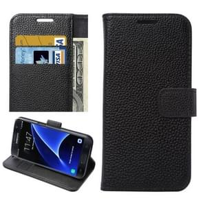 For Samsung Galaxy S7 / G930 Litchi Texture Horizontal Flip Leather Case with Holder & Card Slots & Wallet (Black)