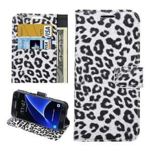 For Samsung Galaxy S7 Edge/ G935 Leopard Texture Horizontal Flip Leather Case with Holder & Card Slots & Wallet  (White)