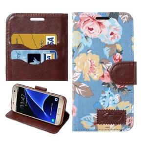 For Samsung Galaxy S7/G930 Flower Pattern Cloth Surface Horizontal Flip Leather Case with Holder & Card Slots (Blue)