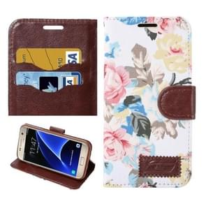 For Samsung Galaxy S7/G930 Flower Pattern Cloth Surface Horizontal Flip Leather Case with Holder & Card Slots (White)