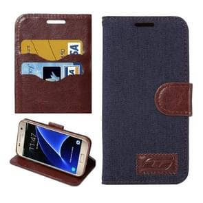 For Samsung Galaxy S7/G930 Jeans Horizontal Flip Leather Case with Holder & Card Slots (Black)