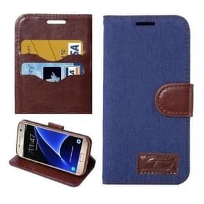 For Samsung Galaxy S7/G930 Jeans Horizontal Flip Leather Case with Holder & Card Slots (Dark Blue)