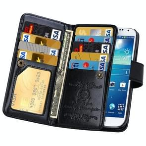 Multifunctional Crazy Horse Texture Horizontal Flip Solid Color Leather Case with Nine Card Slots & Wallet for Samsung Galaxy S4 / i9500(Black)