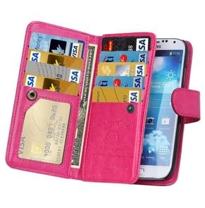 Multifunctional Crazy Horse Texture Horizontal Flip Solid Color Leather Case with Nine Card Slots & Wallet for Samsung Galaxy S4 / i9500(Magenta)