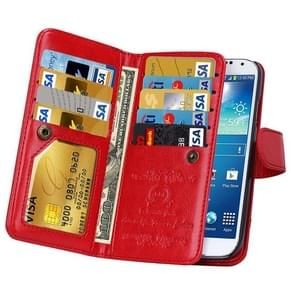 Multifunctional Crazy Horse Texture Horizontal Flip Solid Color Leather Case with Nine Card Slots & Wallet for Samsung Galaxy S4 / i9500(Red)