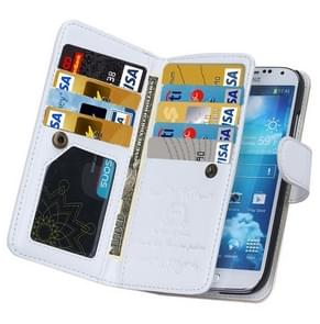 Multifunctional Crazy Horse Texture Horizontal Flip Solid Color Leather Case with Nine Card Slots & Wallet for Samsung Galaxy S4 / i9500(White)