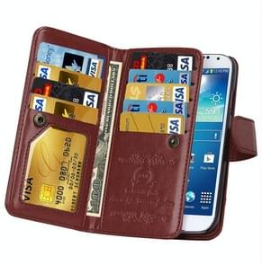 Multifunctional Crazy Horse Texture Horizontal Flip Solid Color Leather Case with Nine Card Slots & Wallet for Samsung Galaxy S4 / i9500(Brown)