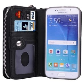 For Samsung Galaxy S6 / G920 Multifunctional Separable Litchi Texture Solid Color Leather Case with Zipper & Card Slots & Lanyard (Black)