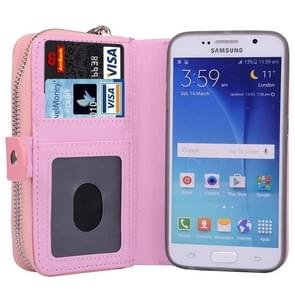 For Samsung Galaxy S6 / G920 Multifunctional Separable Litchi Texture Solid Color Leather Case with Zipper & Card Slots & Lanyard (Pink)