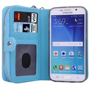 For Samsung Galaxy S6 / G920 Multifunctional Separable Litchi Texture Solid Color Leather Case with Zipper & Card Slots & Lanyard (Blue)