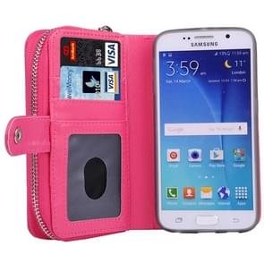 For Samsung Galaxy S6 / G920 Multifunctional Separable Litchi Texture Solid Color Leather Case with Zipper & Card Slots & Lanyard (Magenta)