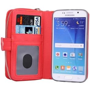 For Samsung Galaxy S6 / G920 Multifunctional Separable Litchi Texture Solid Color Leather Case with Zipper & Card Slots & Lanyard (Red)