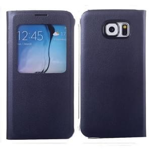For Samsung Galaxy S6 / G920 Litchi Texture Horizontal Flip Leather Case with Call Display ID & Sleep function (Dark Blue)
