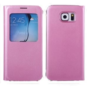 For Samsung Galaxy S6 / G920 Litchi Texture Horizontal Flip Leather Case with Call Display ID & Sleep function (Pink)